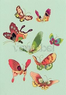 Textilentwurf Chinesisches Opernkostüm, Schmetterlinge