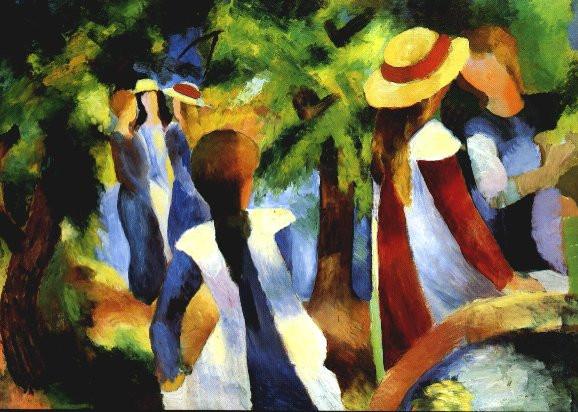 August Macke, Mädchen unter Bäumen