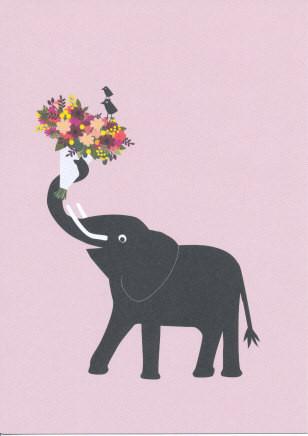 Elefant mit Blumenstrauß