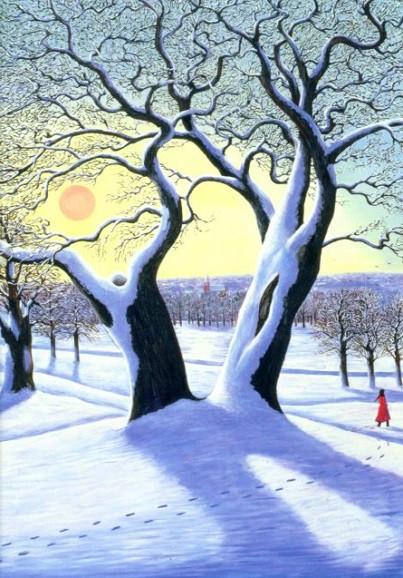 Liz Wright, geteilter Baum im Schnee